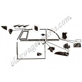 set de 6 inserts aluminium et vis pour joints de capotage latéraux 50-64