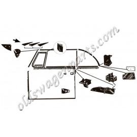 set de 2 inserts aluminium pour joint verticaux de baie de pare brise 52-64