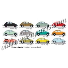 carte postale VW Coccinelle Evolution (210x105mm)