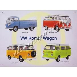 """tôle peinte emboutie VW COMBI COLLAGE"""" 41x30cm"""