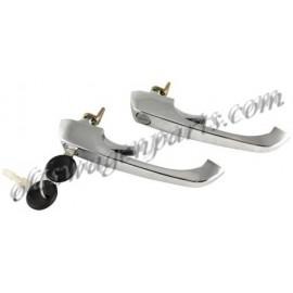set de 2 poignées de porte chromée 8/68-4/79 avec la même clé