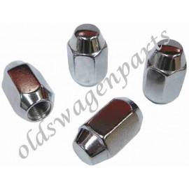 set de 4 écrous de roues chromés à appuis conique (1/2x20) pour réf 37754 ou l'entretoise 37920