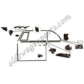 set de 2 joints verticaux de baie de pare-brise cabriolet 52-64