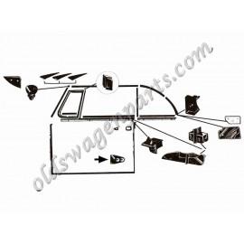 set de 2 lèche vitre avant ou arrière intérieur ou extérieur gauche et droit cab. 54-64