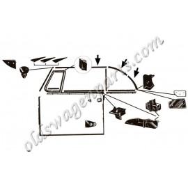 insert aluminium pour joint de capotage avant 68-72