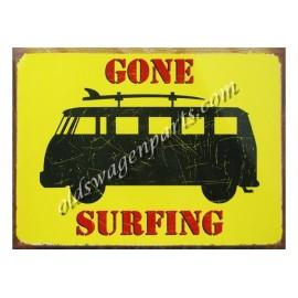 """tôle peinte emboutie """"GONE SURFING COMBI"""" 41x30cm"""